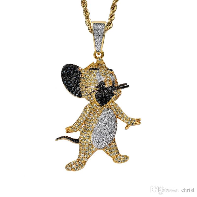18K Gold Cat and Mouse Jerry Necklace Iced Out Cubic Zircon Mens Hip Hop Jewelry Gift