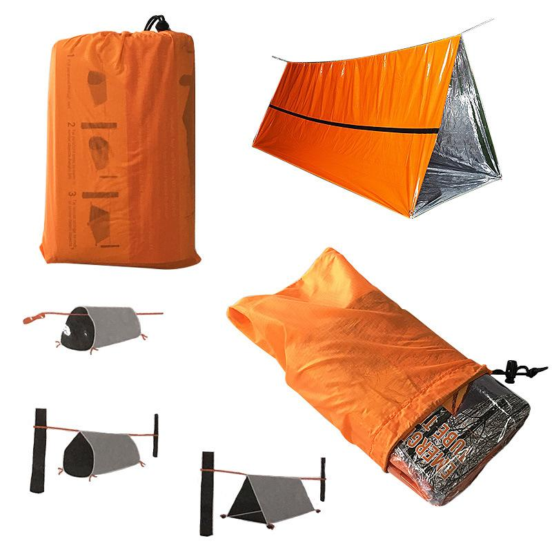 Orange Emergency Shelter Outdoor Waterproof Thermal Blanket Emergency Rescue Camping SOS Shelter Foldable Military Survival Tent