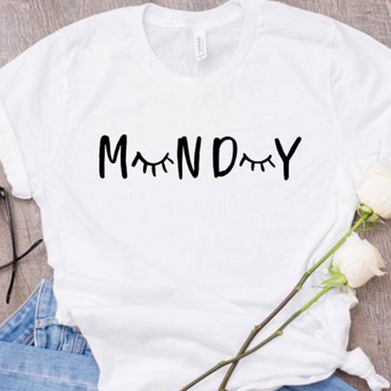 2dd150d78 2019 Causal Eyelash Short Sleeve Monday Tee Fashion Women Sleep Tumblr 90s T  Lashes Shirt Tops C19041702 From Xiao0002, $14.53 | DHgate.Com