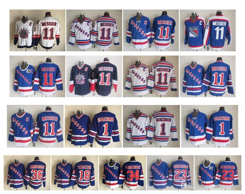 low priced 4fc0d 00ed9 Vintage New York Rangers Jersey 11 Mark Messier 1 Eddie Giacomin 18 Walt  Tkaczuk 23 Jeff Beukeboom 34 John Vanbiesbrouck CCM Hockey Jersey