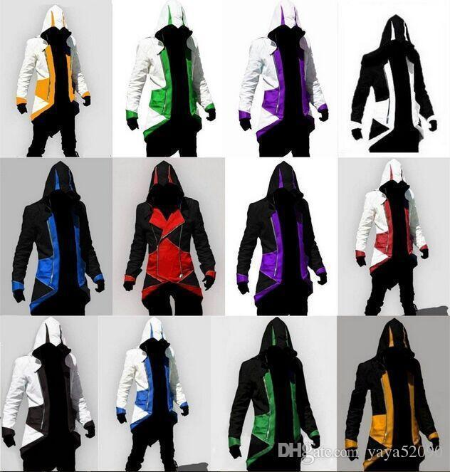 High quality12 Colors Hot Sale designer hoodies Assassins Creed 3 III Conner Kenway nhl Hoodies Coat Jacket Cosplay Costume hoodies for men