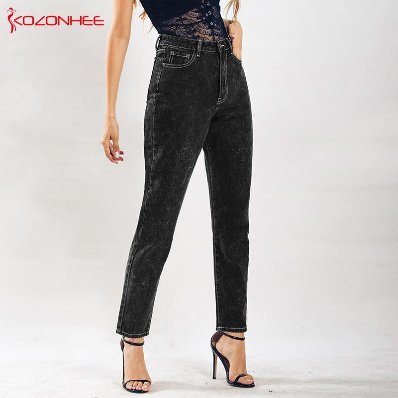 0c0e0d41fa79 Свободные парень Женские джинсы с высокой талией прямые черные джинсы с ...
