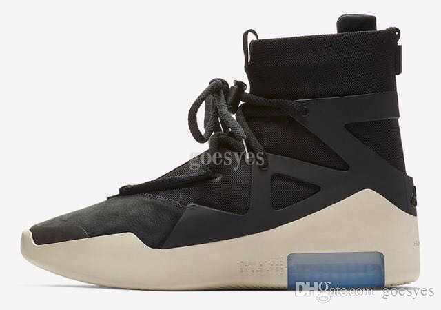 new concept cf72a cbf2d Acheter 2019 Nouvelle Version Air Peur De Dieu 1 Homme Chaussures FOG  Bottes Light Bone Noir Voile Chaussure De Basket Ball Homme Sport Zoom  Baskets De ...