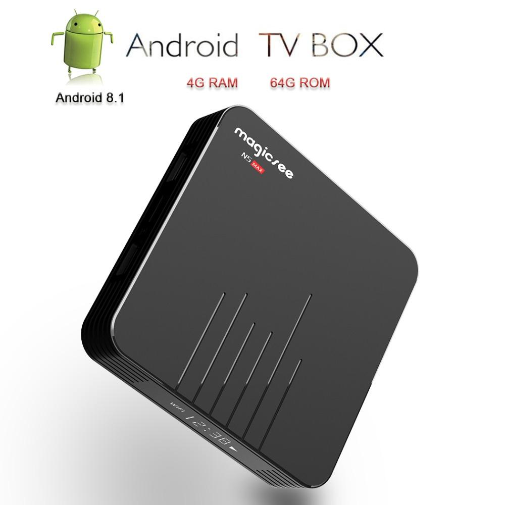 Magicsee Android TV Box Smart TV Amlogic S905X2 Android 8 1 IPTV Set Top  Box N5 MAX Media Player DDR4 4GB/64GB 2 4G/5 8G WIFI BT