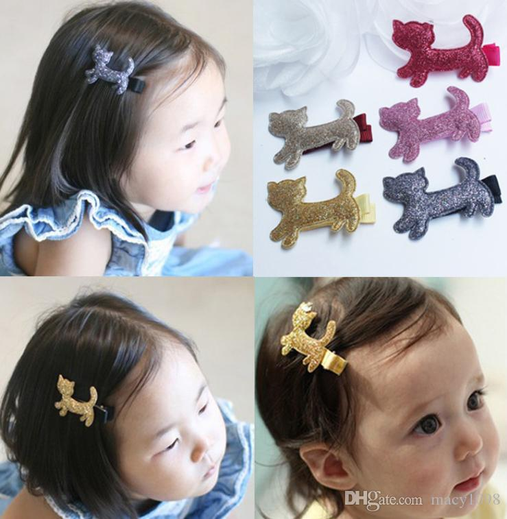 baby Barrettes cats bambina Accessori per capelli capretti hairwear hairpin Party clips sparkles kitty mix colors