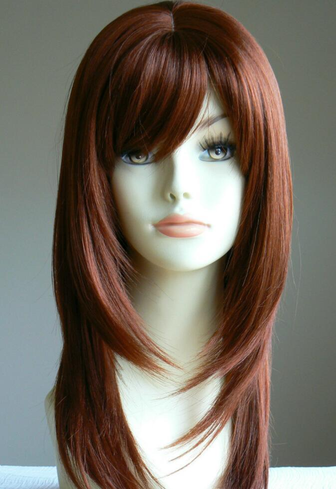 WIG WBY Long Straight Copper Red Layered salon Lady Wig Blonde Lady Salon Hair Style no Front queen brazilian made wigs