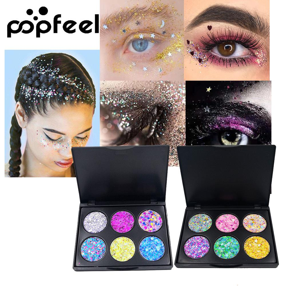 Popfeel Glitter Shimmer Powder Palette for Eyes Body Face Makeup Shine Eye Shadow Kit Glitter Palette and Free Gift TSLM2