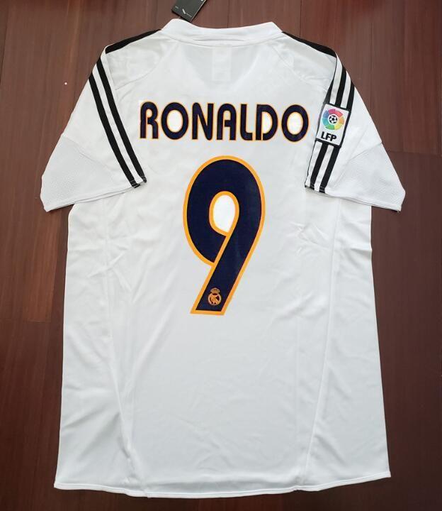 8ef1c07ed38 2019 04 05 Real Madrid Soccer Jersey R.Carlos Zidane Raul Ronaldo Figo Owen  Guti Beckham 2004 2005 Real Madrid Vintage Footbal Shirts Soccer Kits From  ...