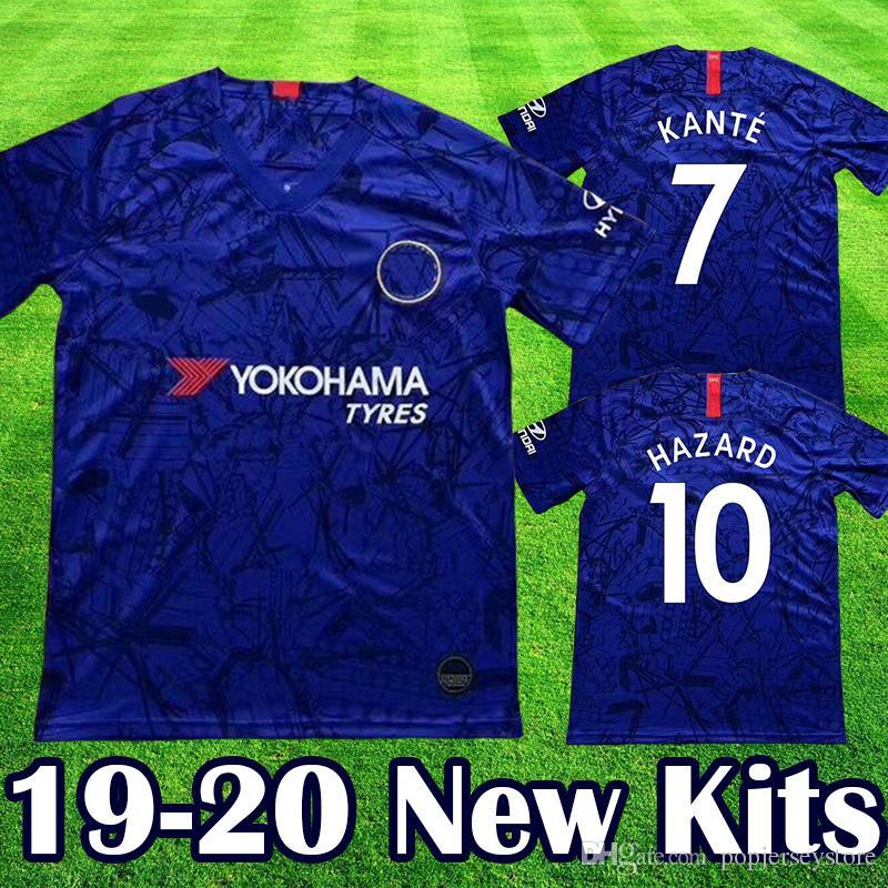 new style a7d5e 1dc41 Chelsea 2019 2020 FC HAZARD KANTE GIROUD equipment club Jersey de fútbol  WILLIAN BARKLEY PEDRO RUDIGER FÀBREGAS Football Yellow Kits 19 20 Home Blue  ...