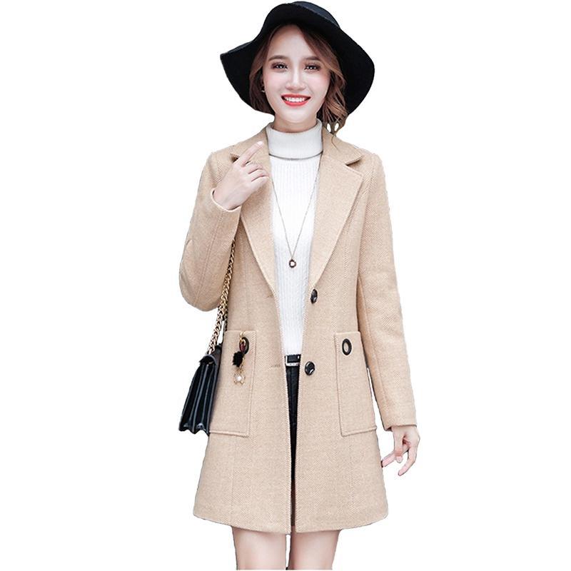 79f8d93fd0d 2019 Fashion Woolen Jacket Women 2019 Spring Autumn Korean Version Slim  Lady Basic Coat Plus Size Single Breasted Woven Coats Female From Ingridea