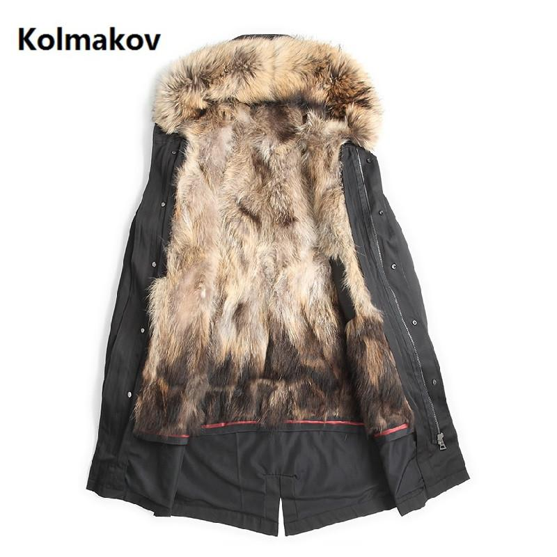 2018 New style trench coat men winter raccoon fur collar winter warm parkas men's high quality Raccoon hair liner hooded jacket