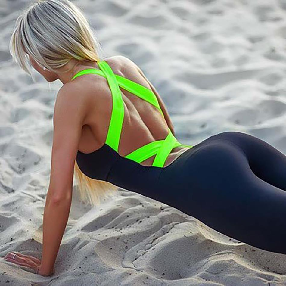 Hot sale Europe and America Women Gym Fitness Clothing Suit Running Tight Jumpsuits Sports Yoga Sets Promotion Running Jumpsuit