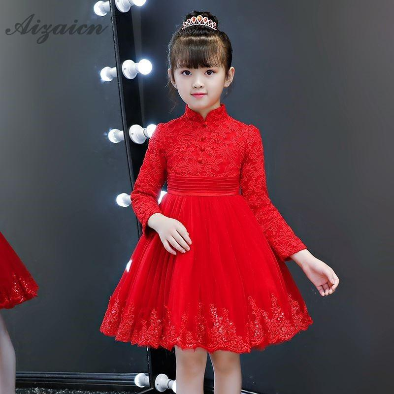 aa4230b49 2019 Red Lace Princess Traditional Dress Cheongsam Kids Thick Long Children  Baby Chinese New Year Clothes Chipao Qipao Cotton Girls From Kennethy, ...