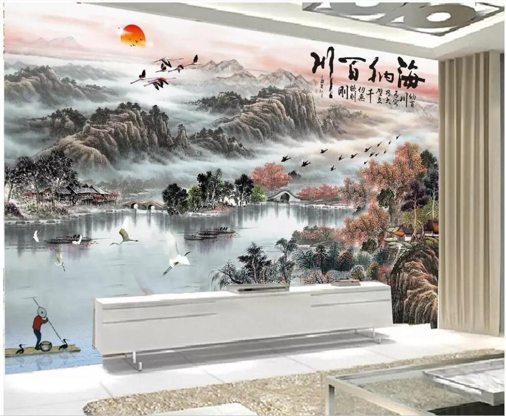 Decorazioni Per Casa Montagna : Acquista 3d foto wallpaper murale personalizzato pittura a