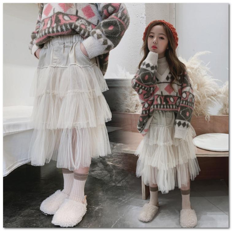Old girls lace cake skirt kids splicing tiered lace falbala skirt children princess long skirt 2020 spring new girls clothes fit 3-12T J1708