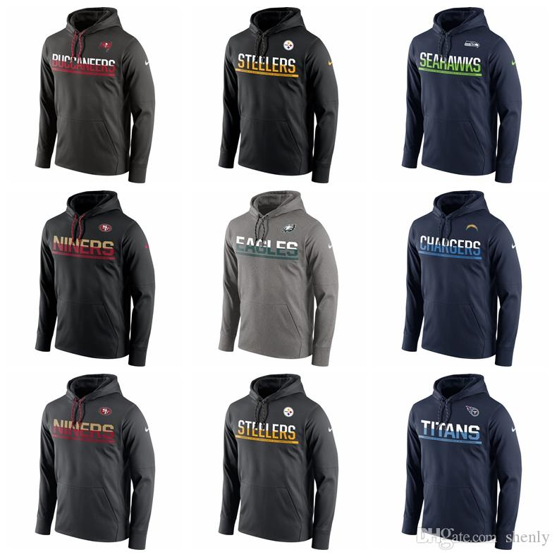 newest 558e5 397b6 Mens Eagles Steelers 49ers Seahawks Buccaneers Titans Chargers Sideline  Circuit Pullover Performance Hoodie