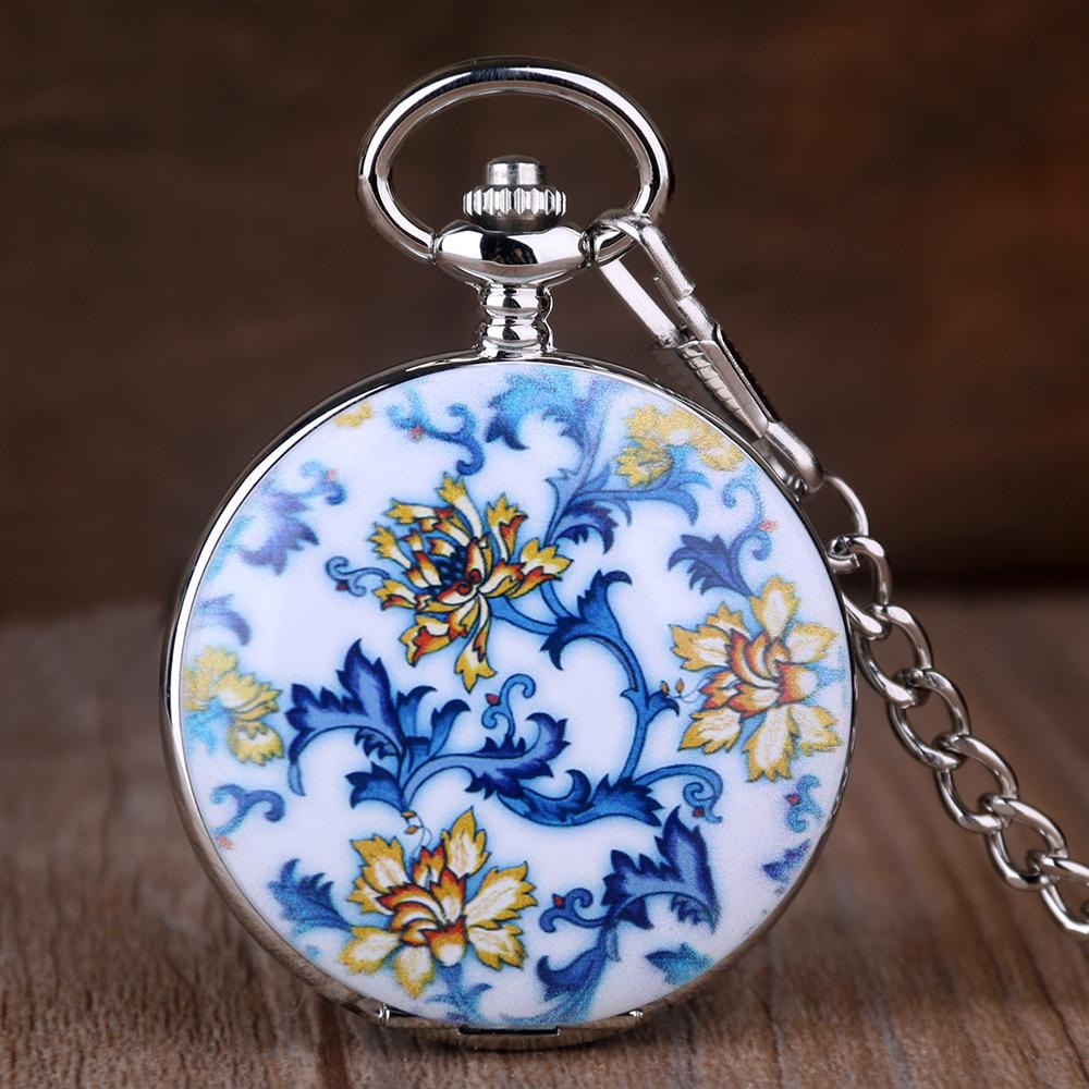 Antique Chinese Retro Porcelain Flower Ceramic Mechanical Pocket Watch Roman Number Men Women Pendant Chain Gift