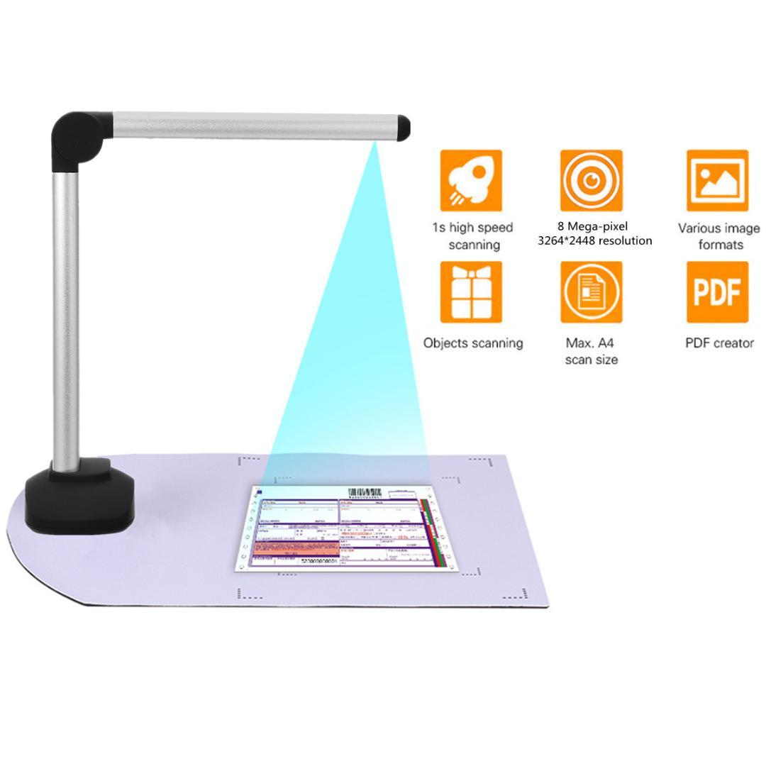 A4 Document Camera Scanner Portable High Speed USB Book Image With 8 0MP  Camera School Office Library Bank HD High-Definition