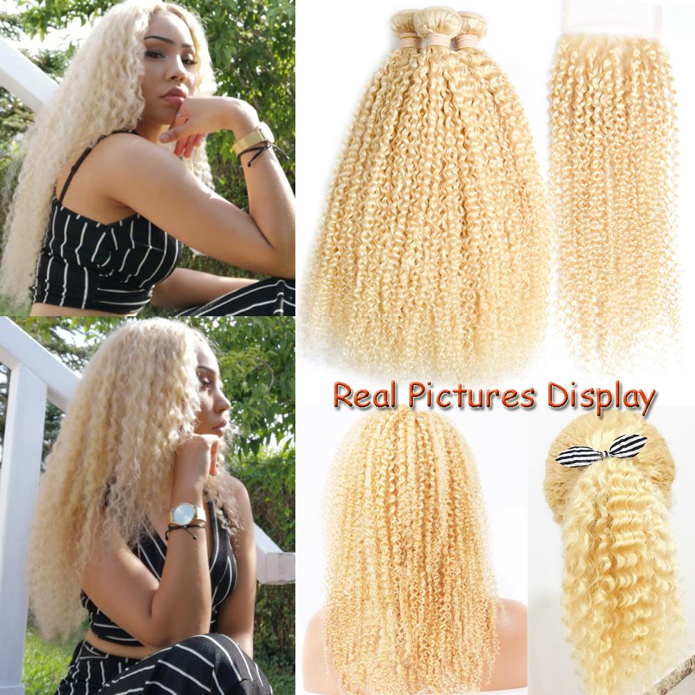 613 blonde bundles with closure Brazilian human hair weave kinky curly hair extensions 3 bundles with closure remy human hair for women