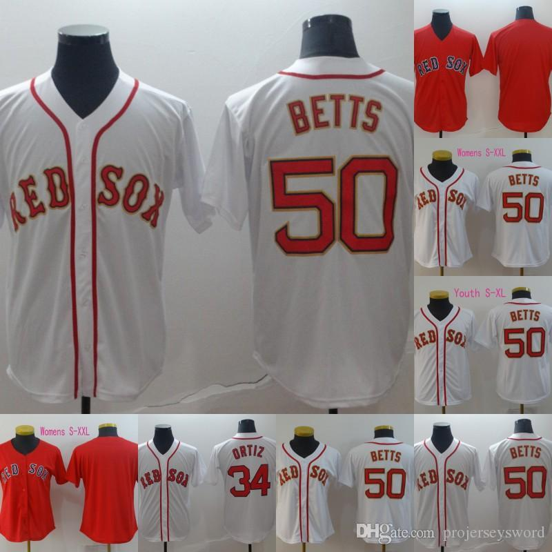 premium selection 394d2 680f3 Boston Gold Program 50 Mookie Betts Jersey Mens Womens Youth Cool Base 100%  Stitched Red Sox Baseball Jerseys Cheap Fast Shipping S-XXXL