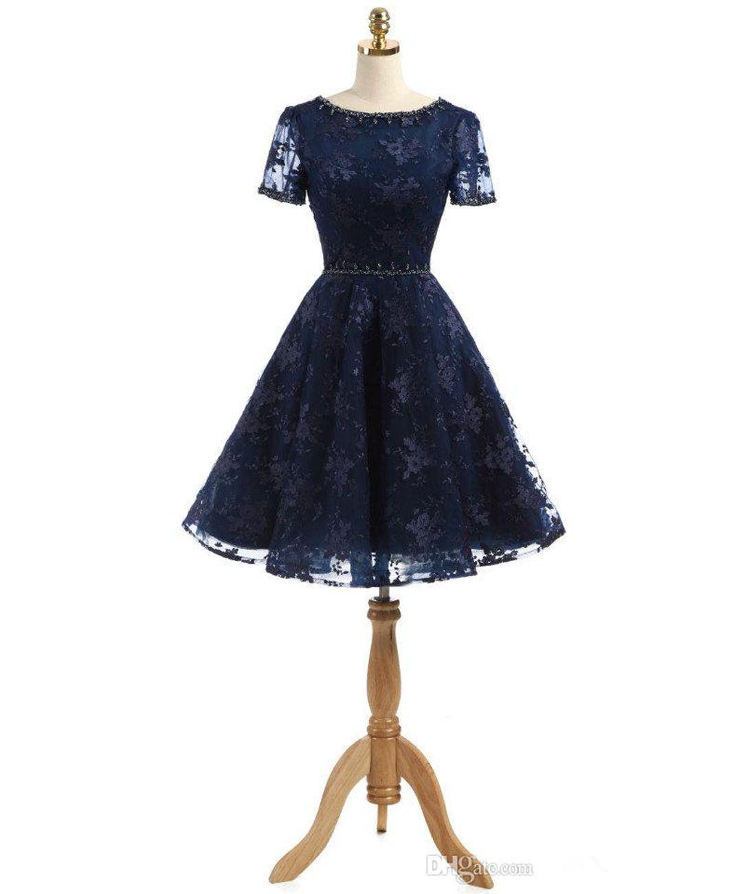 41fd28fea Compre Real Azul Marino 2019 Vestidos Cortos Baile Con Cuello En Cuello  Manga Corta Una Línea De Encaje Vestido Formal De Fiesta Con Cordones  Volver ...