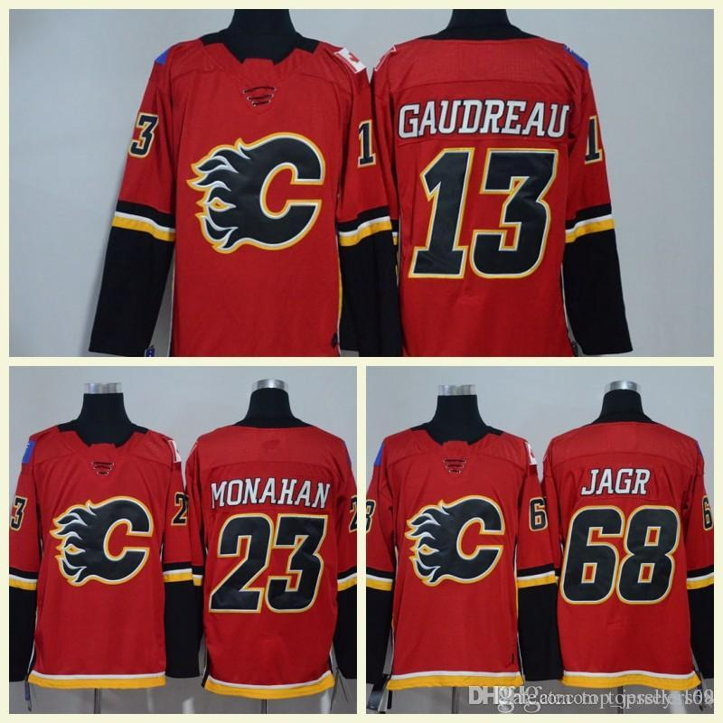 2018 New Calgary Flames Men Hockey Jerseys 68 Jaromir Jagr 13 Johnny ... 5930b5da6