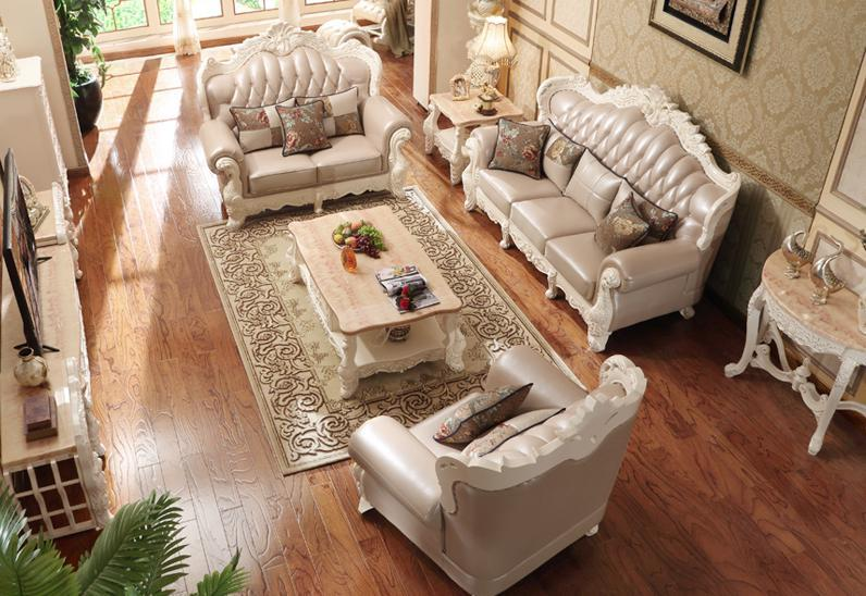 Modern leather Sofa set living room furniture,, Beautiful Leather Sofa  ,Living Wood Sofa Set