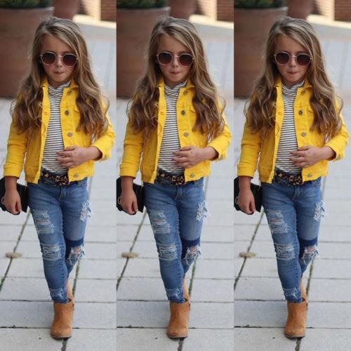 0d3703932a7d9 Acheter 2019 Printemps Automne Enfants Enfant Bébé Fille Vêtements Jaune  Denim Demi Manche Veste Manteau Tops Survêtement 1 6 T De  45.55 Du  Newyearable ...