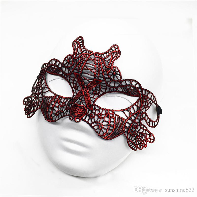 Newest Fashion Sexy Lace Halloween Masquerade Venetian Party Half Face Mask Lily Woman Lady Mask For Christmas Disco