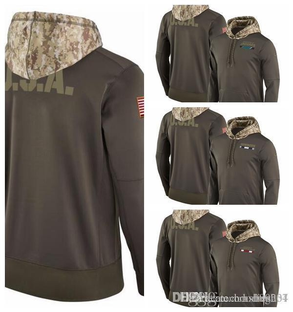 buy popular bf9a0 81e5b Jacksonville Jaguars Dallas Cowboys Cardinals Salute to Service Sideline  Therma Pullover Hoodie Olive