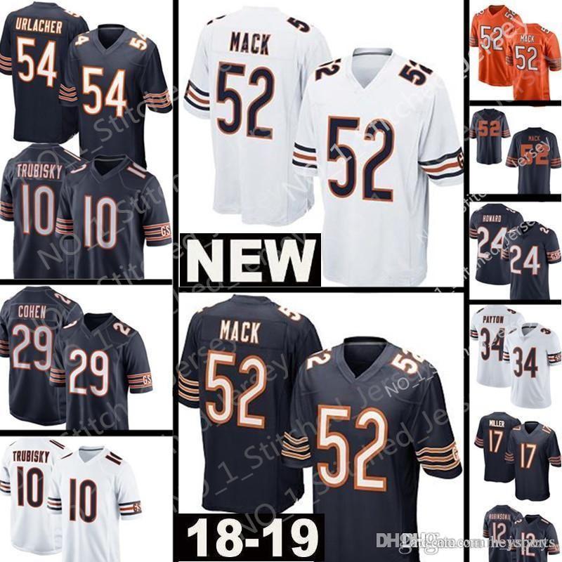 best service 55ac5 5cc51 Mens Bears 52 khalil Mack Jersey Chicago Bears 10 Mitchell Trubisky 34  Walter Payton 54 Brian Urlacher 24 Howard 12 Allen Robinson II Jersey
