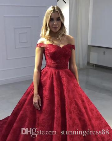 Vintage Red Lace Bodice Quinceanera Prom Dresses Ball Gown 2019 off shoulder With Short Sleeves Cheap Designer Sweet 16 Party Dress Long