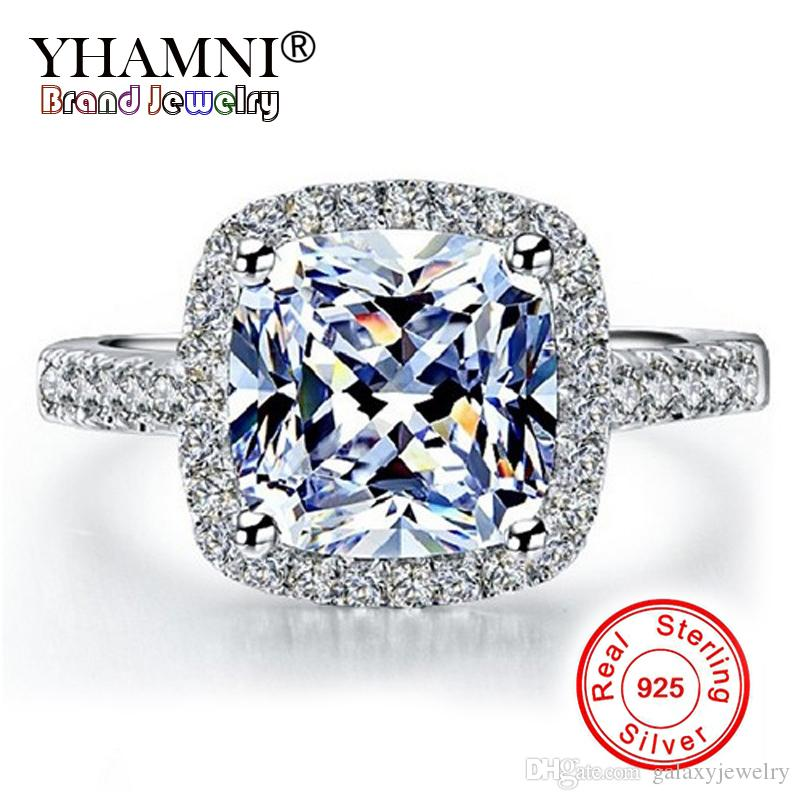YHAMNI Real 100% 925 Sterling Silver Rings Wholesale Engagement Inlay 3 Ct SONA Simulation CZ Wedding Rings For Women GR001