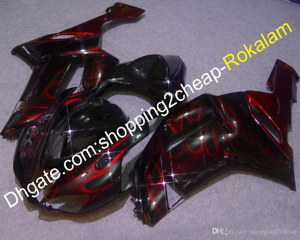 ZX-6R 07 08 Moto Aftermarket Kit Fairing For Kawasaki ZX6R 2007 2008 Red Flame Black Race Bike Fairings (Injection molding)