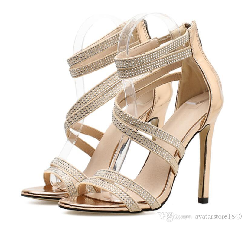 Gold Bling Crystal Sexy Women Sandals Open Toe Rhinestone Straps Cross High Heel Sandals Wedding Dress Shoes Size 35-40