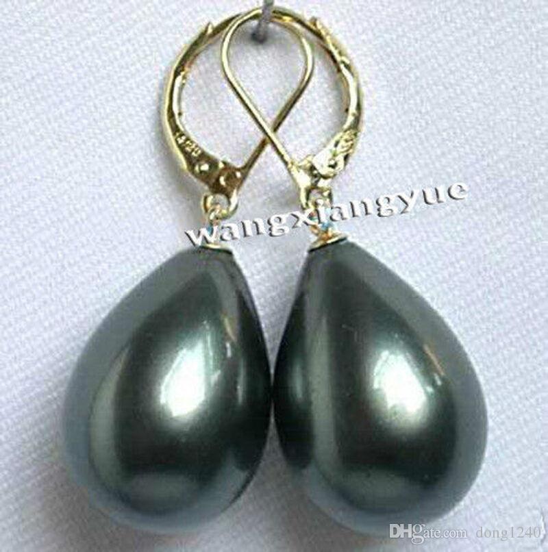 12X16MM Black Shell Pearl Drop Dangle Kook Earrings AAA+
