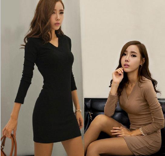 b6460ae06d3 Acheter New Womens Black Dress Dames Plain Plain Manches Longues Dress Col  V Tricot Mini Robe Moulante Tunique Top Plus Tailles De  16.17 Du Qiqiw