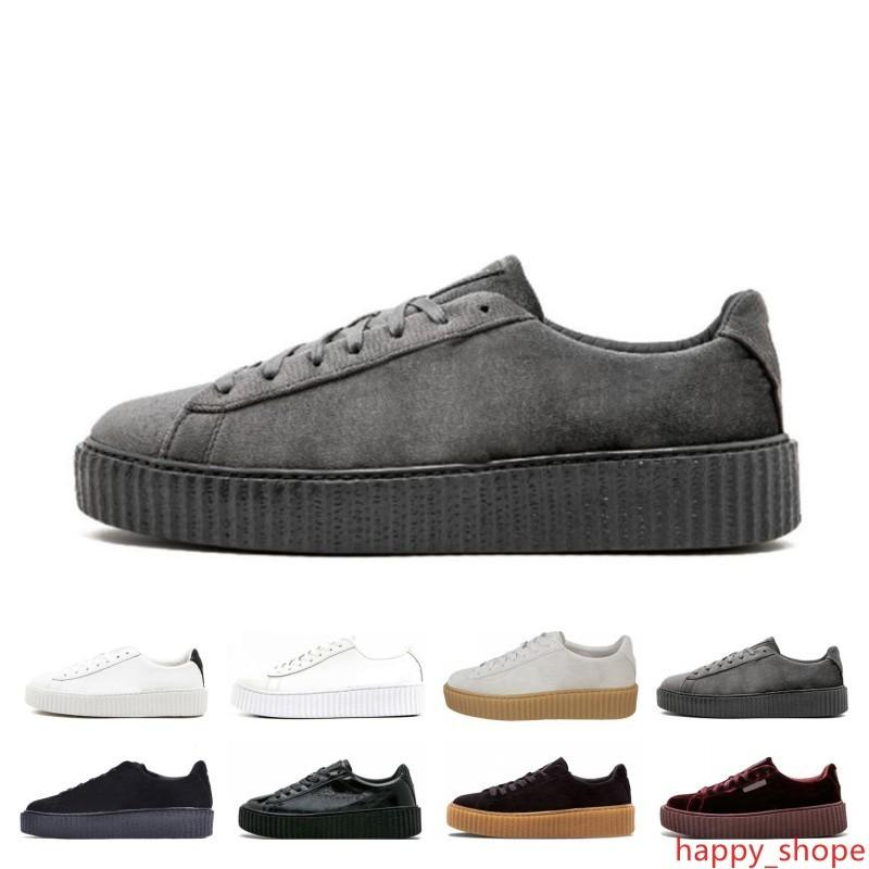 Cheap Sale PM Rihanna Fenty Creeper 2019 Classic Platform Casual Shoes Velvet Cracked Leather Suede Men Women Fashion Designer Sneakers