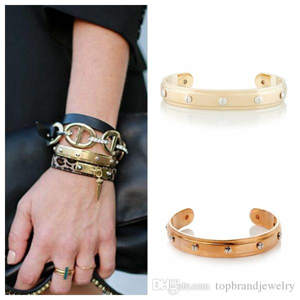 2018 New arrival 316L Titanium steel punk bangle with gold and rose gold and silver color in 5.7cm size and 6.1cm for women sizePs6288