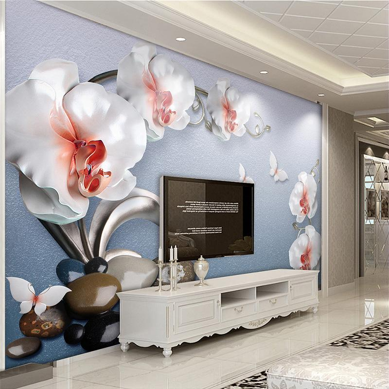 Custom 3D Mural Wallpaper Estilo Europeo Relieve Joyas Flores Foto Mural de la pared Sala de estar Sofá TV Pintura de pared Lujo Fresco