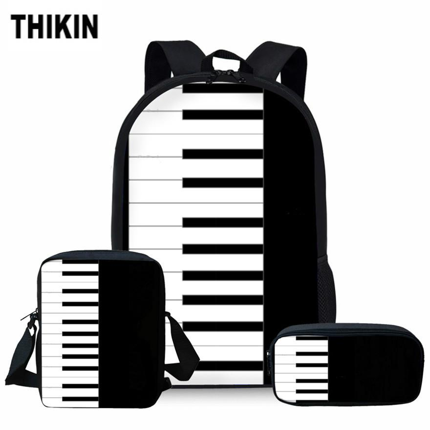 ThiKin Children Piano Key Printing School Bags for Kids Music Note Shoulder Bagpack Girls Primary School Bag Teenager Book Bags