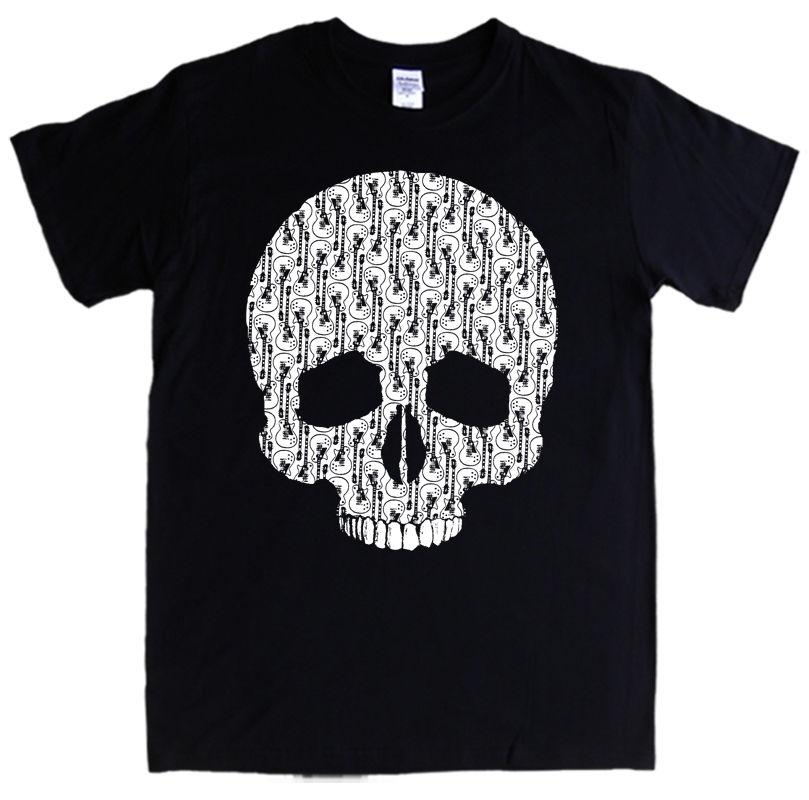 7d419144 GUITAR SKULL T-shirt S- 5XL Skeleton Rock Metal Bones Electric MEN ...