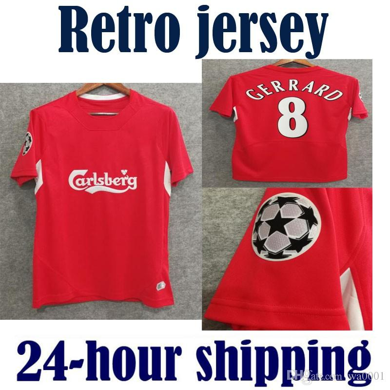 395eba30287 Liverpool 04 05 Gerrard Retro Jerseys Alonso D.Cisse Soccer Jersey 2004 2005  Baros Luis Garcia Vintage Classical Football Shirt Por Wa0001, ...