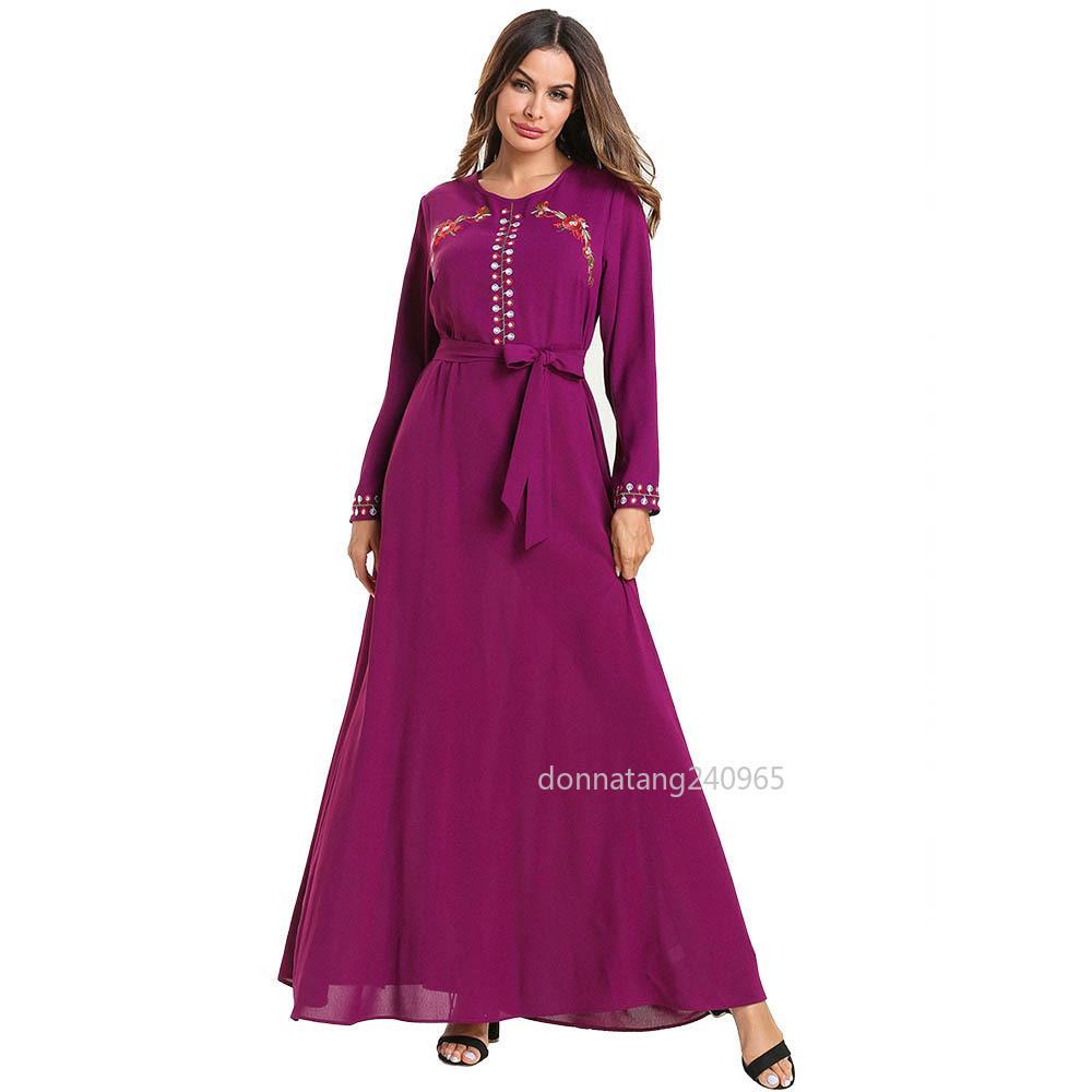 87320a171271c Women Abaya Dubai Turkey Turkish Bangladesh Islamic Clothing Plus Size  Kaftan Caftan Embroidery Purple Robe Bandage Muslim Dress