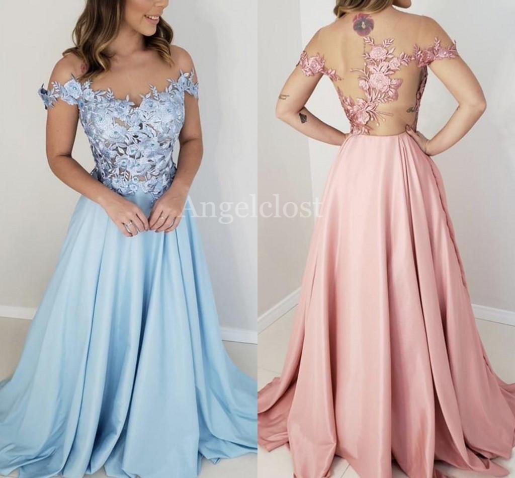 New Design Illusion Bodies Prom Dresses 2019 Sheer Neck Sweep Train Lace Appliques Long Evening Party Dresses Formal Gowns Vestido Custom
