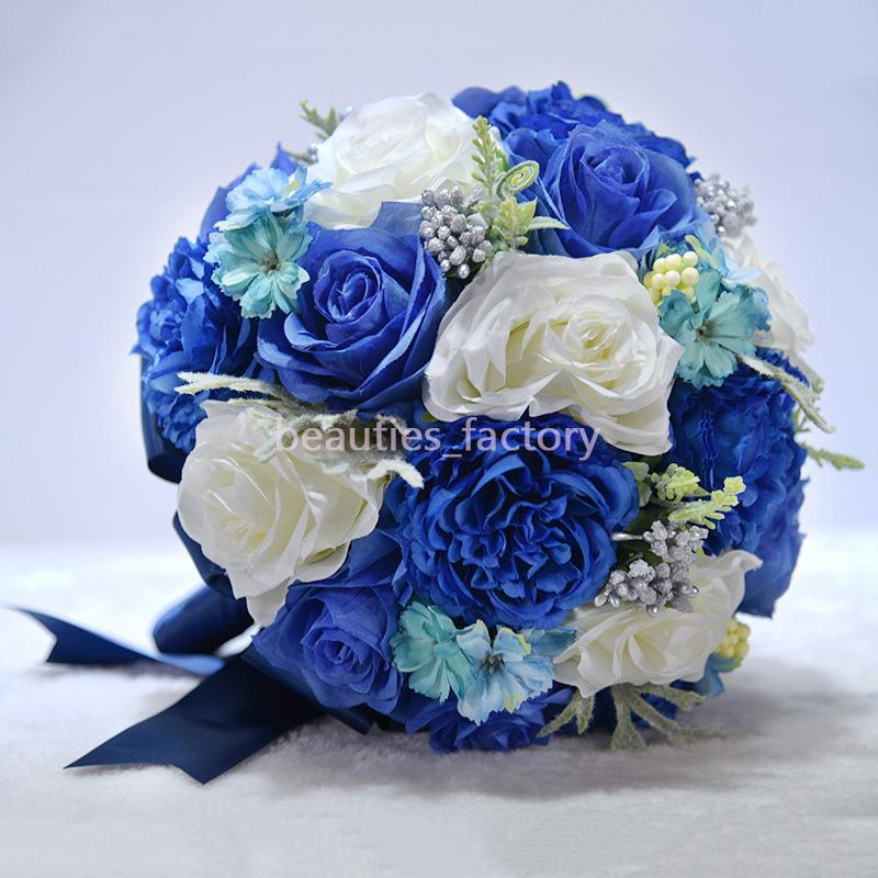 25 centimetri seta Bouquet da sposa Blu White Rose artificiale con nastro nozze Forniture Flower Girl Bouquet B716