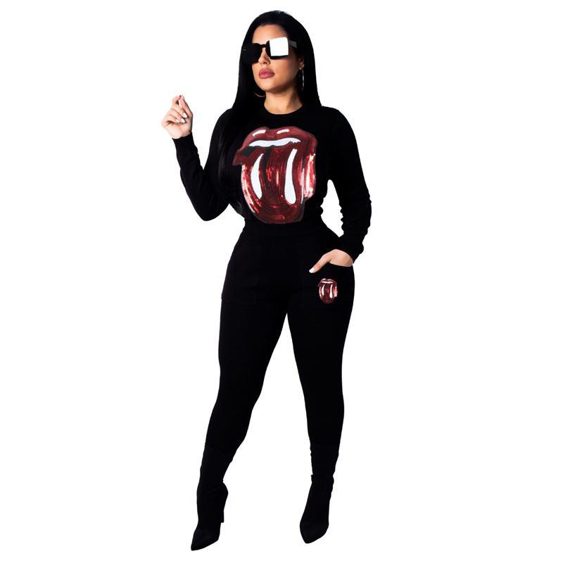 64e32860c1d Fashion Casual Lipstick Sequin Round Collar Long Sleeve Suit Black ...