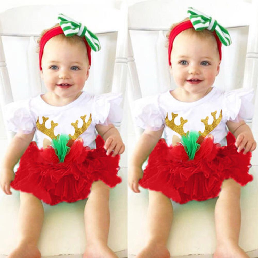 e7371c0e9 2019 Good Quality Infant Baby Girls Clothes Christmas Clothing Set Short  Sleeve Antlers Jumpsuit Romper+Skirts Outfit Roupas Menina From Yosicil02,  ...