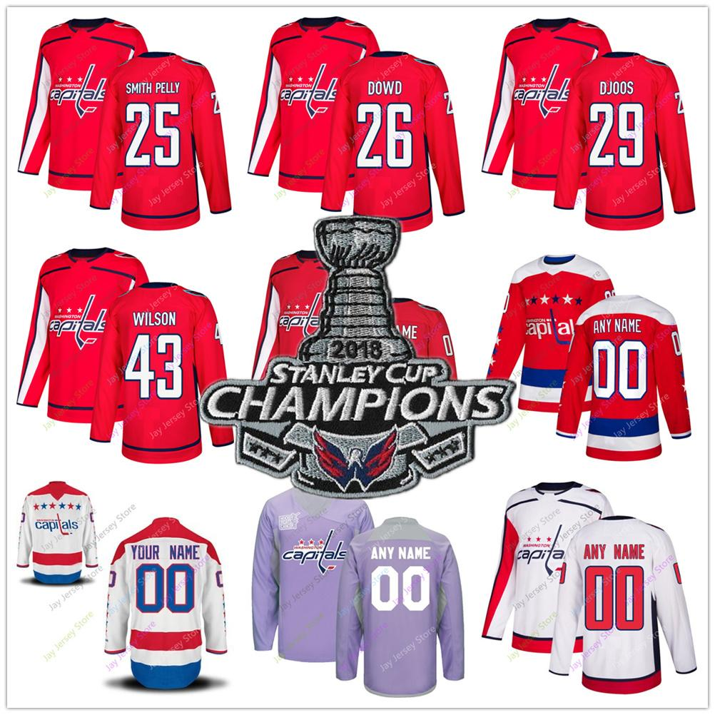 online store 4a126 4a2ec Devante Smith-Pelly Nic Dowd Christian Djoos Tom Wilson Jersey 2019 Winter  Classic Washington Capitals Home Away New Third Women Youth Salut