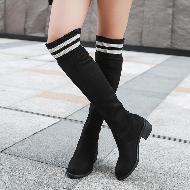 7897e2b77b3 Wool Knitting Elastic High Boots Low Heel Long Botas Woman Slim Over Knee  Boots Student Girls Big Size Sock 4382 Boots Shoes Ankle Boots For Women  From ...